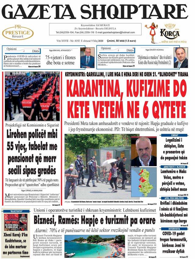 Shtypi/ Titujt kryesorë të gazetave për ditën 9 maj 2020