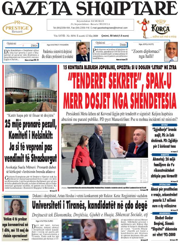 Shtypi/ Titujt kryesorë të gazetave për datën 12 maj 2020