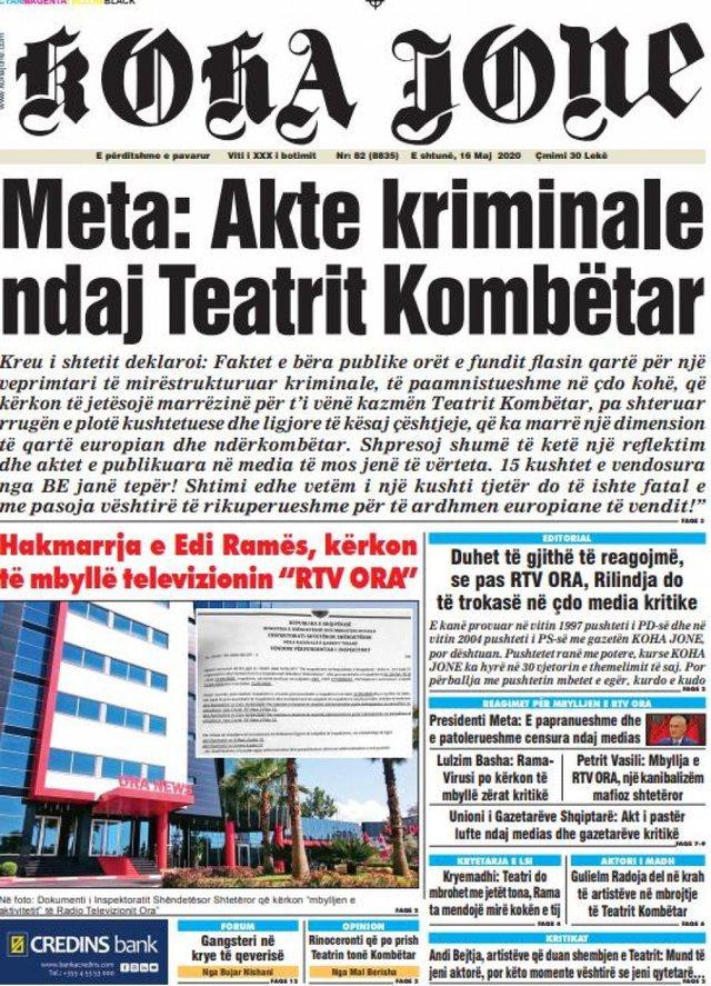 Shtypi/ Titujt kryesorë të gazetave për datën 16 maj 2020