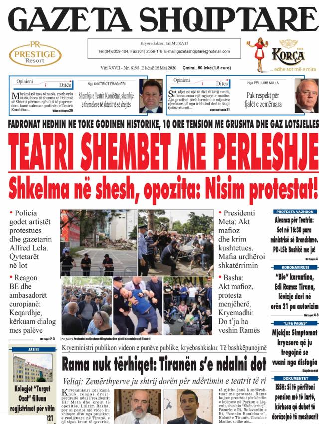 Shtypi/ Titujt kryesorë të gazetave për datën 18 maj 2020