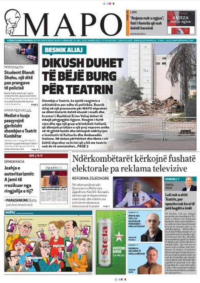 Shtypi/ Titujt kryesorë të gazetave për datën 20 maj 2020