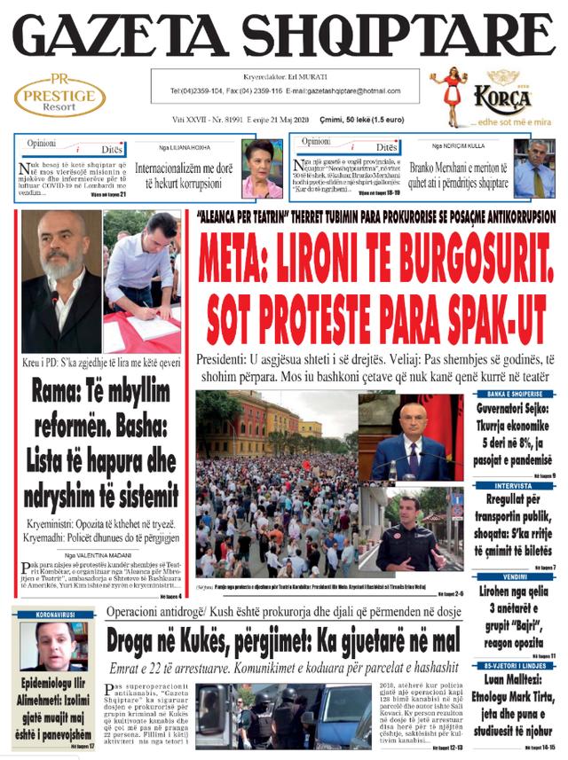 Shtypi/ Titujt kryesorë të gazetave për datën 21 maj 2020