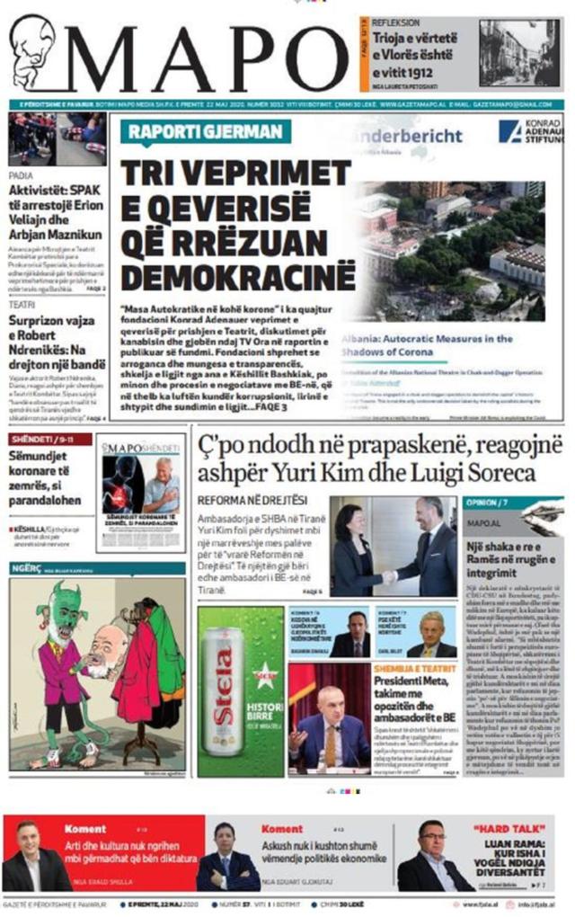 Shtypi/ Titujt kryesorë të gazetave për datën 22 maj 2020