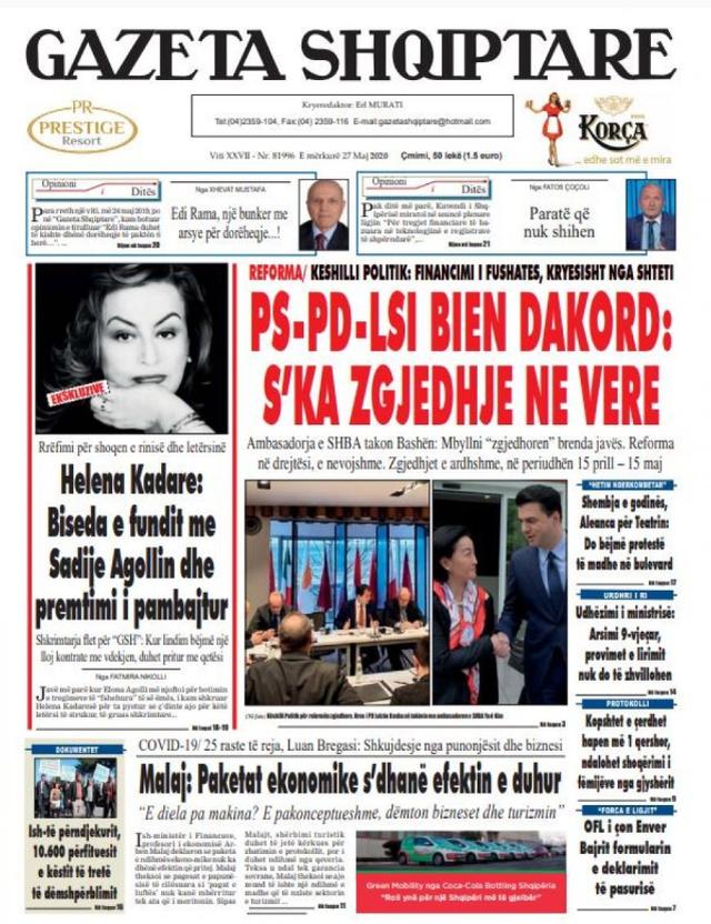 Shtypi/ Titujt kryesorë të gazetave për datën 27 maj 2020