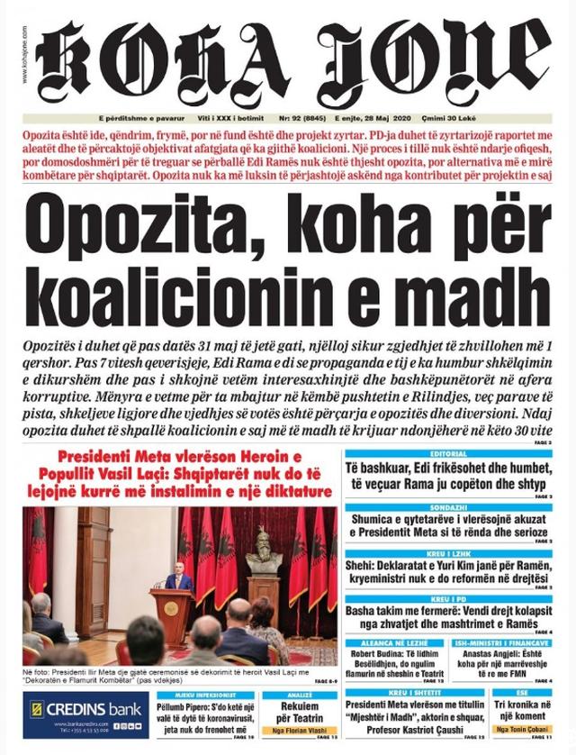 Shtypi/ Titujt kryesorë të gazetave për datën 28 maj 2020