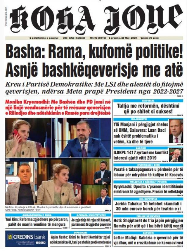 Shtypi/ Titujt kryesorë të gazetave për datën 29 maj 2020