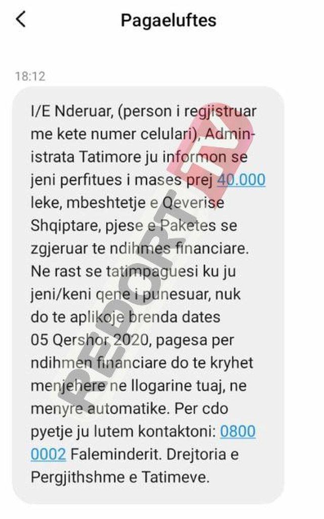 Mesazhi nga Tatimet për pagën 400 mijë lekë që po u