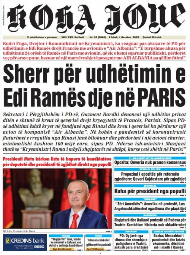 Shtypi/ Titujt kryesorë të gazetave për datën 1 qershor 2020