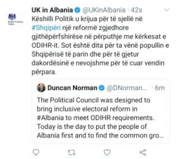 Ambasadori britanik, pas thyerjes së afatit për Reformën