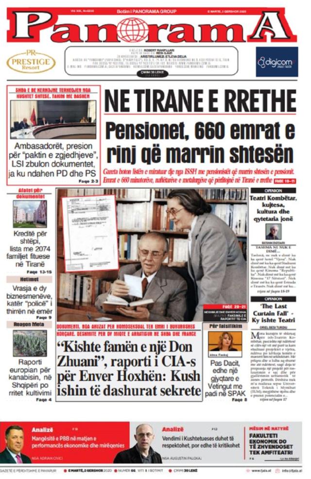 Shtypi/ Titujt kryesorë të gazetave për datën 2 qershor 2020