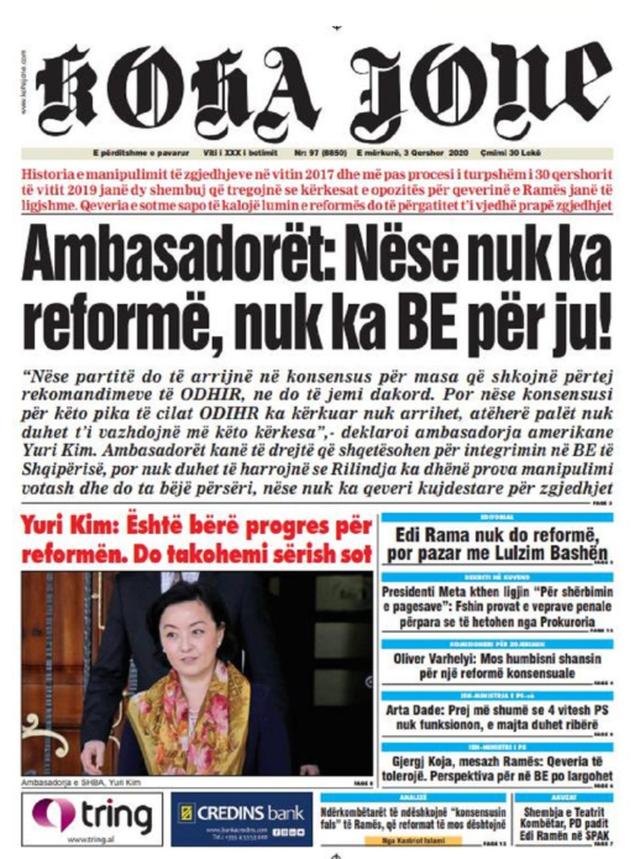 Shtypi/ Titujt kryesorë të gazetave për datën 3 qershor 2020