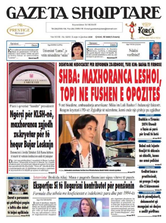 Shtypi/ Titujt kryesorë të gazetave për datën 4 qershor 2020