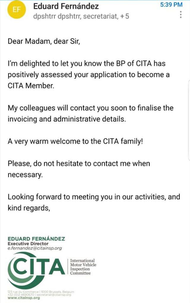 DPSHTRR pranohet anëtar me të drejta të plota në CITA