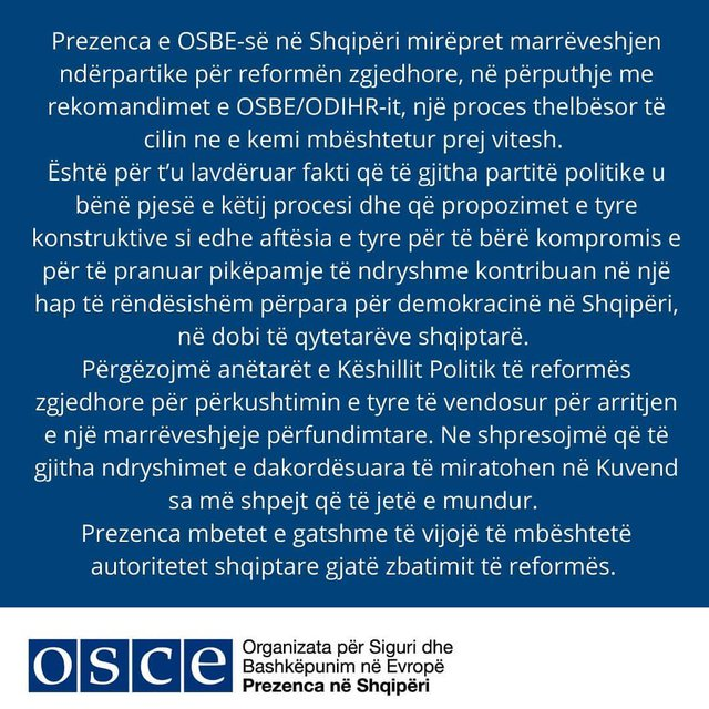OSBE vlerëson marrëveshjen: Jemi gati t'u mbështesim