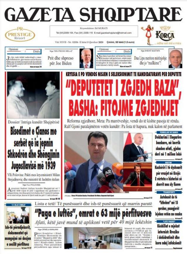 Shtypi/ Titujt kryesorë të gazetave për datën 8 qershor 2020