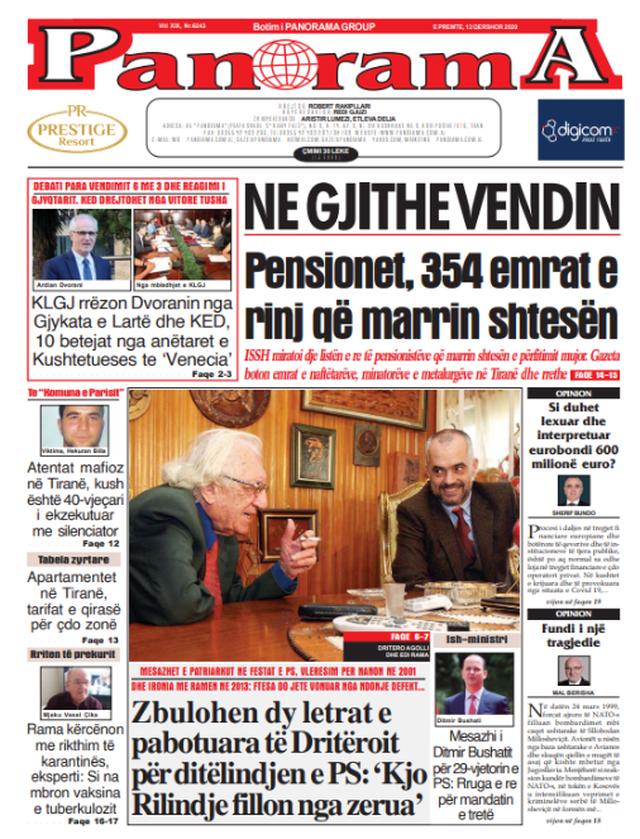 Shtypi/ Titujt kryesorë të gazetave për datën 12 qershor