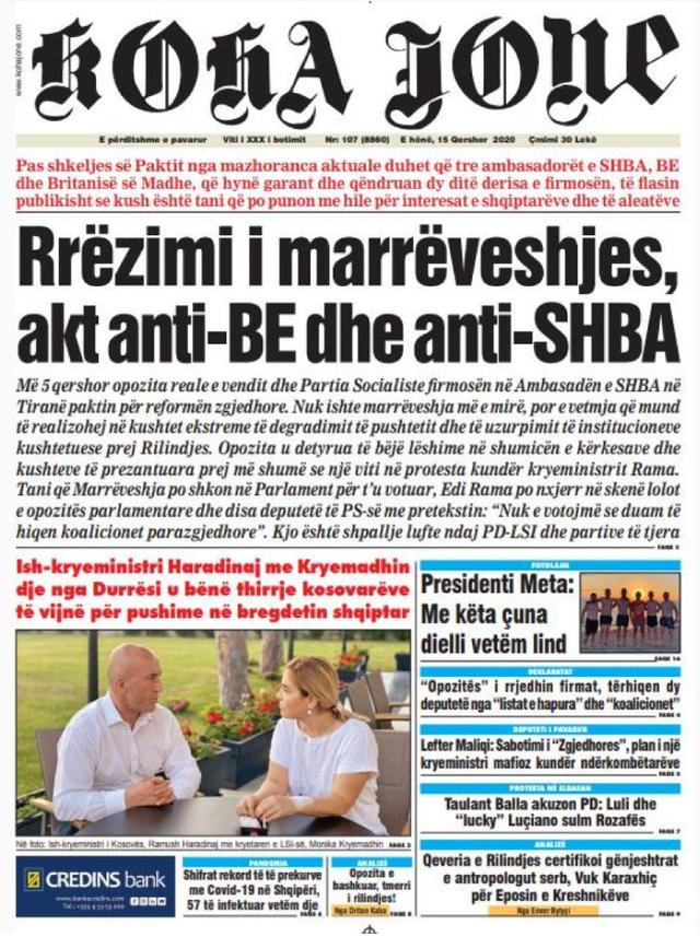 Shtypi/ Titujt kryesorë të gazetave për datën 15 qershor