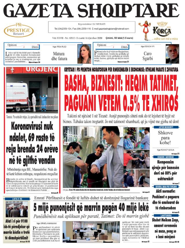 Shtypi/ Titujt kryesorë të gazetave për datën 16 qershor
