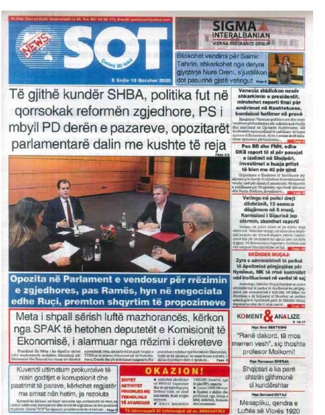 Shtypi/ Titujt kryesorë të gazetave për datën 18 qershor