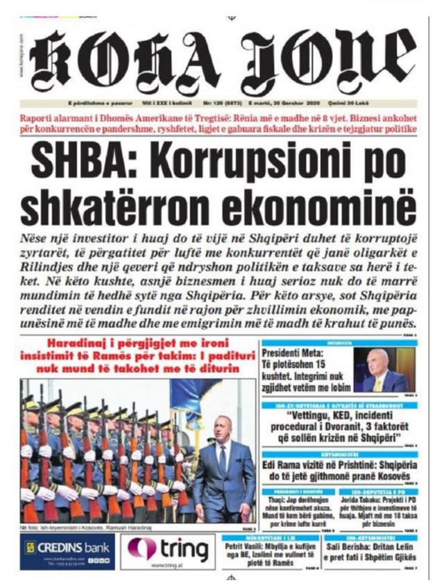 Shtypi/ Titujt kryesorë të gazetave për datën 30 qershor