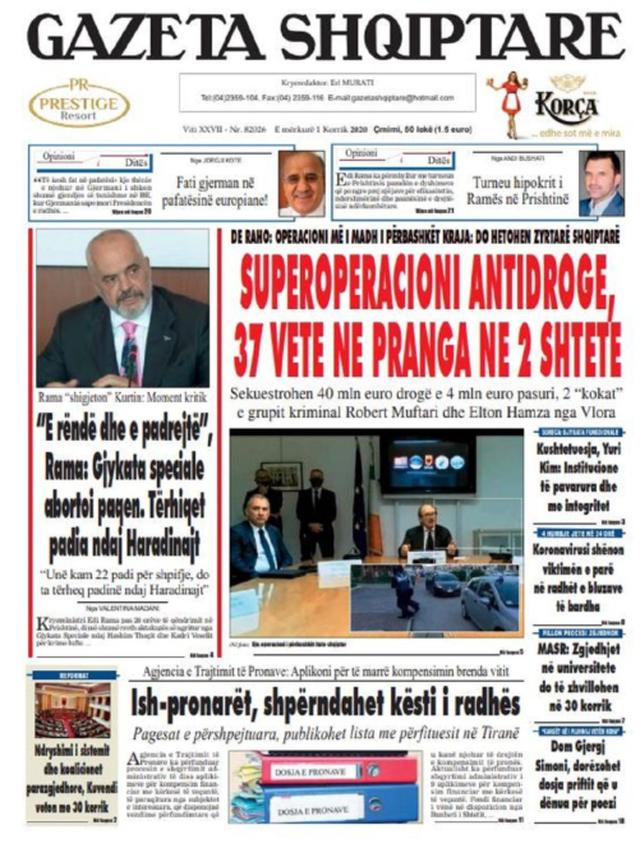 Shtypi/ Titujt kryesorë të gazetave për datën 1 korrik 2020