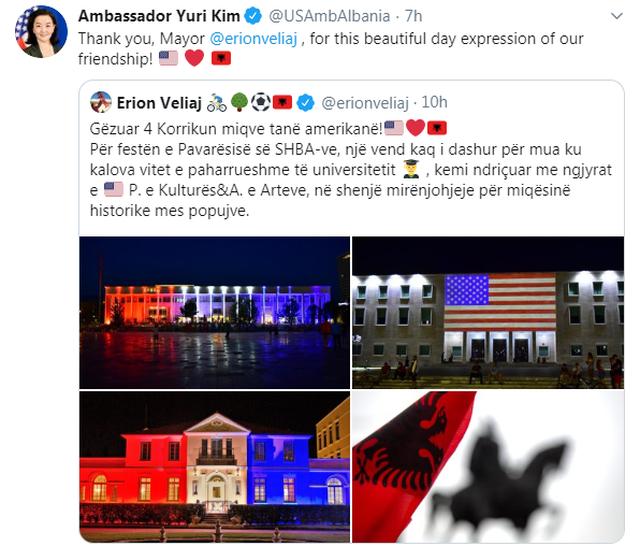 Tirana uron e para Pavarësinë e Amerikës, Yuri Kim i
