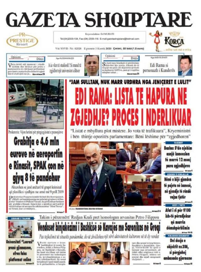 Shtypi/ Titujt kryesorë të gazetave për datën 3 korrik 2020