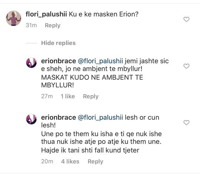 Ku e ke maskën Erion? Zv.kryeministri i përgjigjet komentuesit pse nuk