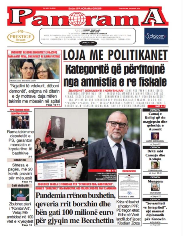 Shtypi/ Titujt kryesorë të gazetave për datën 8 korrik 2020