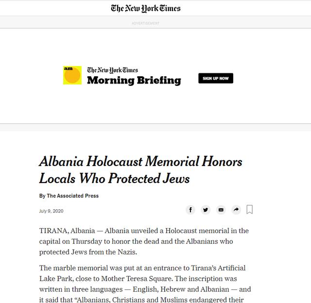 """Tirana në faqet e """"New York Times"""""""
