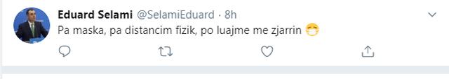 Eduard Selami shkruan në Twitter për maskat: Po luajmë me zjarrin