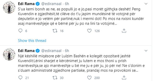 Rama paralajmëron Bashën me anulim marrëveshje