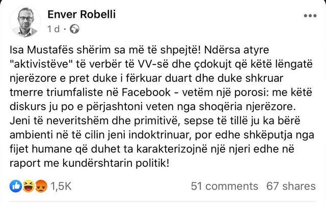 Enver Robelli fshikullon aktivistët e VV pas statuseve të tyre në