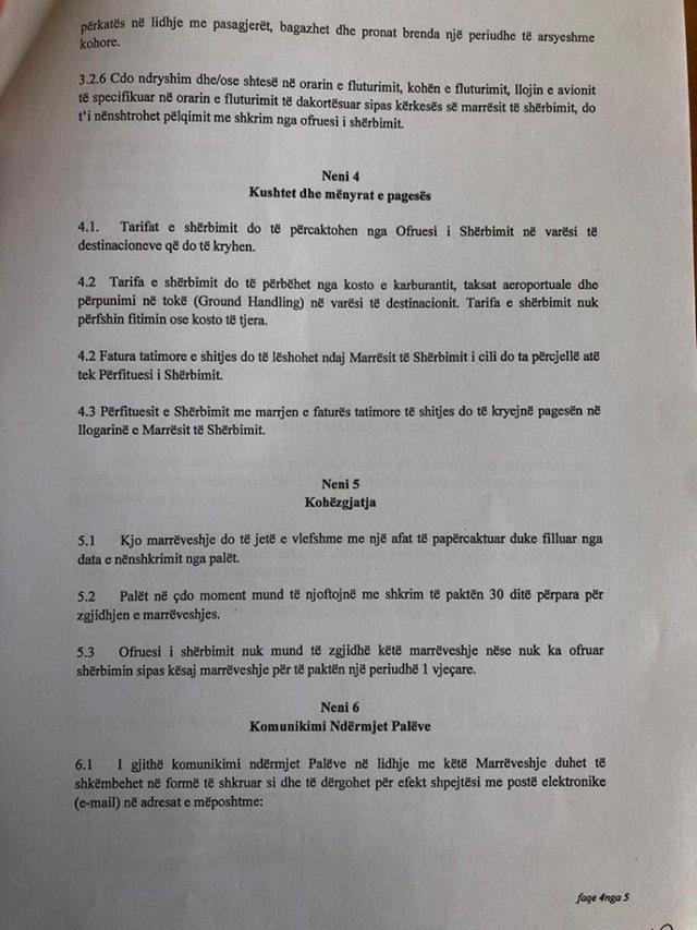 Publikohet kontrata me 'Air Albania' për flurimet charter