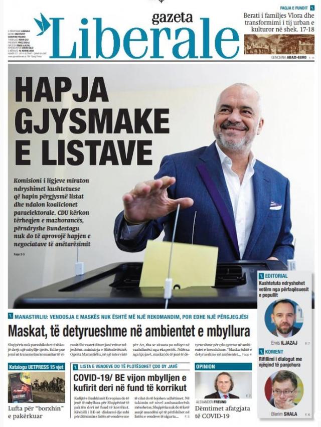 Shtypi/ Titujt kryesorë të gazetave për datën 15 korrik 2020
