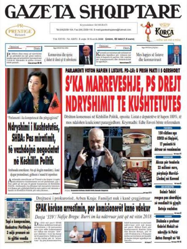 Shtypi/ Titujt kryesorë të gazetave për datën 30 korrik 2020