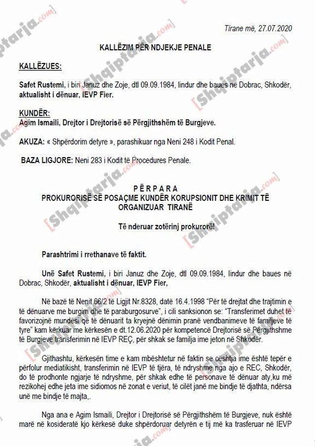 SPAK ia kalon prokurorisë në Tiranë padinë e Safet Bajrit