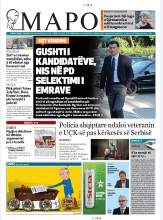 Shtypi/ Titujt kryesorë të gazetave për datën 3 gusht 2020
