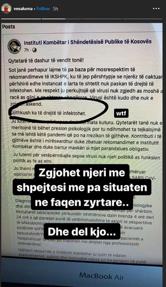 'Gjithkush ka të drejtë të infektohet'. Vesa Luma