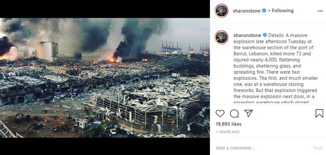 Video që poston Sharon Stone nga shpërthimi në Bejrut