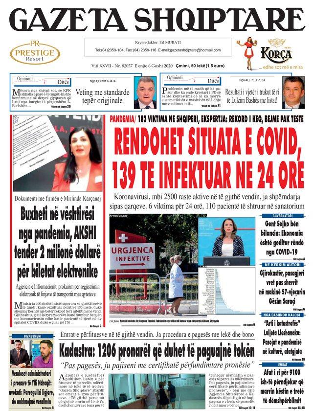 Shtypi/ Titujt kryesorë të gazetave për datën 6 gusht 2020