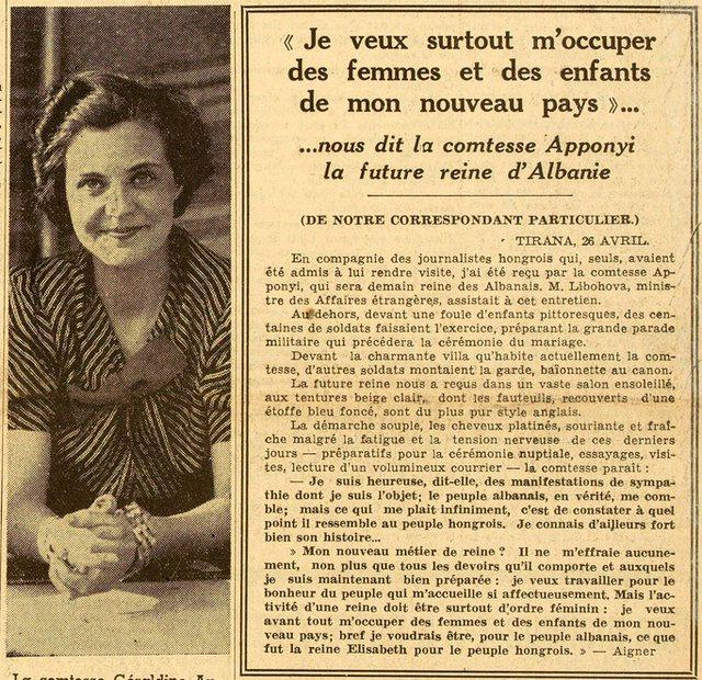 Intervista  e Geraldinës për median franceze 82 vite më
