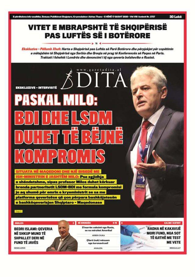 Shtypi/ Titujt kryesorë të gazetave për datën 17 gusht 2020