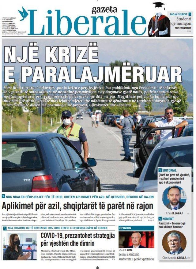 Shtypi/ Titujt kryesorë të gazetave për datën 18 gusht 2020