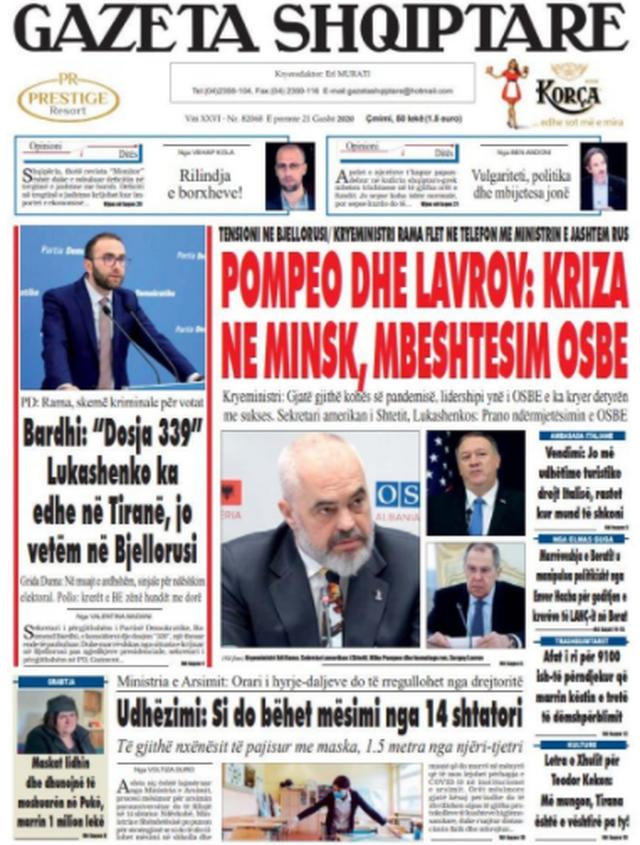 Shtypi/ Titujt kryesorë të gazetave për datën 21 gusht 2020