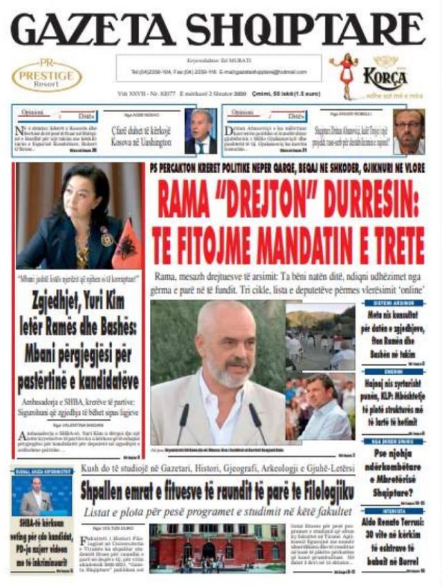 Shtypi/ Titujt kryesorë të gazetave për datën 2 shtator 2020