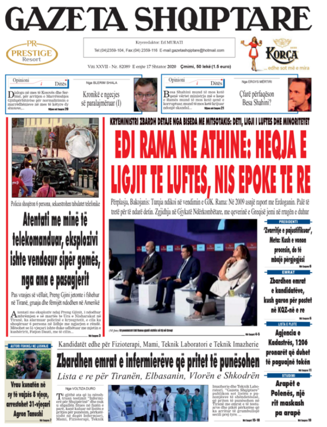 Shtypi/ Titujt kryesorë të gazetave për datën 17 shtator