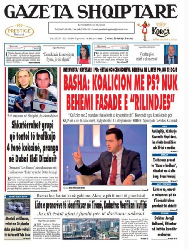 Shtypi/ Titujt kryesorë të gazetave për datën 18 shtator