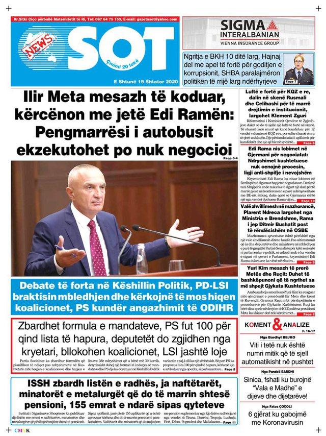 Shtypi/ Titujt kryesorë të gazetave për datën 19 shtator