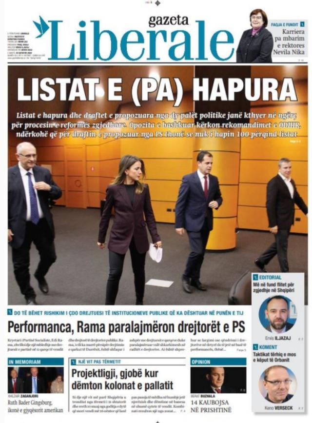 Shtypi/ Titujt kryesorë të gazetave për datën 22 shtator